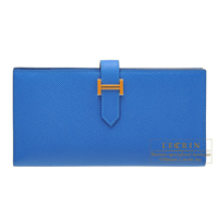 Hermes Bearn Soufflet Blue zellige Epsom leather Gold hardware