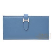 Hermes Bearn Soufflet Azur Epsom leather Silver hardware