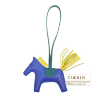 Hermes Rodeo charm PM Blue electric/Lime Agneau