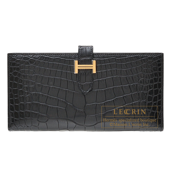 Hermes Bearn Soufflet Black Matt alligator crocodile skin Gold hardware