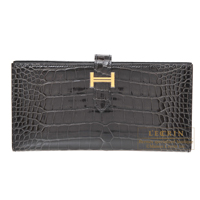 Hermes Bearn Soufflet Graphite Alligator crocodile skin Gold hardware