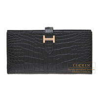 Hermes Bearn Soufflet Black Matt alligator crocodile skin Rose gold hardware