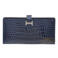 Hermes Bearn Soufflet Blue saphir Alligator crocodile skin Silver hardware