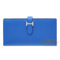 Hermes Bearn Soufflet Blue zellige Epsom leather Silver hardware