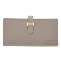Hermes Bearn Soufflet Gris asphalt Epsom leather Rose gold hardware