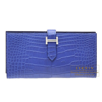 Hermes Bearn Soufflet Blue electric Matt alligator crocodile skin Silver hardware