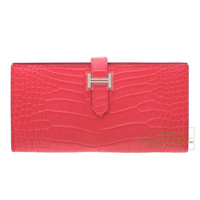 Hermes Bearn Soufflet Rose extreme Matt alligator crocodile skin Silver hardware