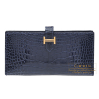 Hermes Bearn Soufflet Blue saphir Alligator crocodile skin Gold hardware