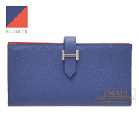 Hermes Bearn Soufflet Verso Blue brighton/ Capucine Epsom leather Silver hardware