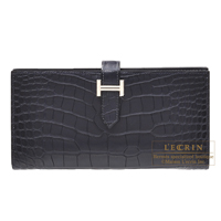 Hermes Bearn Soufflet Blue marine Matt alligator crocodile skin Silver hardware