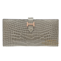Hermes Bearn bi-fold wallet Gris tourterelle Alligator crocodile skin Rose gold hardware
