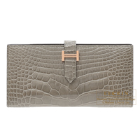 Hermes Bearn Soufflet Gris tourterelle Alligator crocodile skin Rose gold hardware