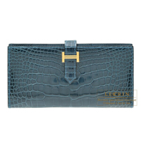 Hermes Bearn Soufflet Colvert Alligator crocodile skin Gold hardware