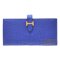 Hermes Bearn Soufflet Blue electric Matt alligator crocodile skin Gold hardware