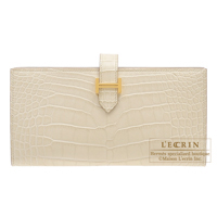 Hermes Bearn Soufflet Beton Matt alligator crocodile skin Gold hardware