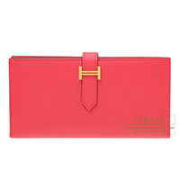 Hermes Bearn Soufflet Rose extreme Epsom leather Gold hardware