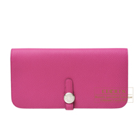 Hermes Dogon Long Rose purple Togo leather Silver hardware