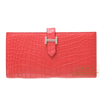 Hermes Bearn Soufflet Bougainvillier Matt alligator crocodile skin Silver hardware