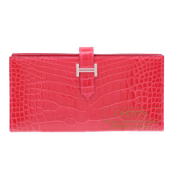 Hermes Bearn Soufflet Rose extreme Alligator crocodile skin Silver hardware