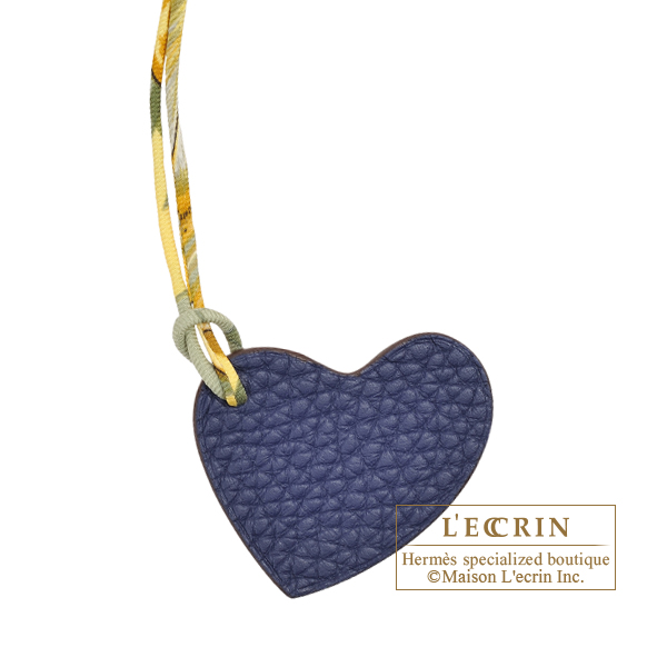 Hermes Petit H Heart Charm Navy/Brown Clemence leather/Epsom leather