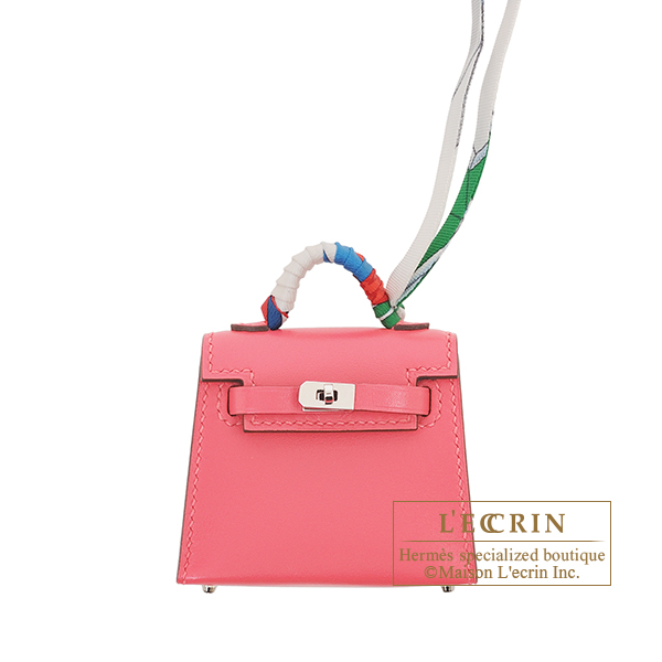 Hermes Kelly Twilly Rose lipstick Tadelakt leather/ Silk Silver hardware