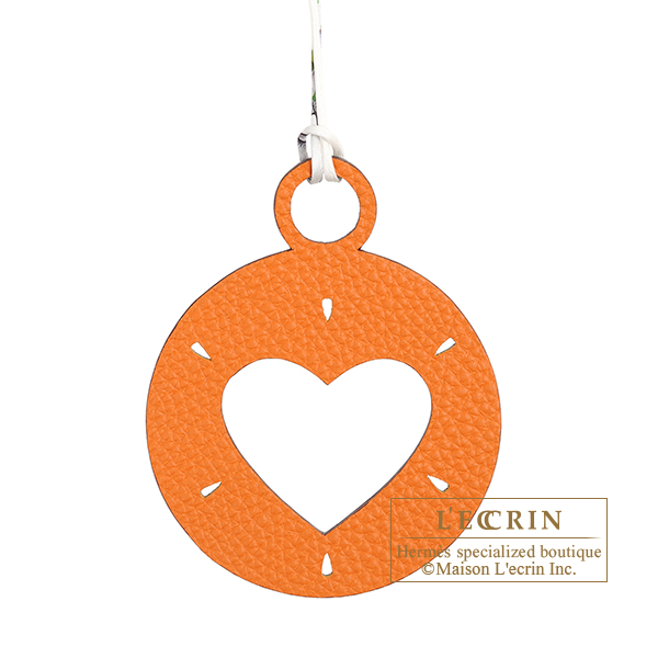 Hermes Petit H Heart Charm Orange/ Blue Clemence leather/ Epsom leather