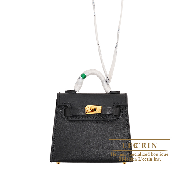 Hermes Kelly Twilly Black Tadelakt leather/ Silk Gold hardware