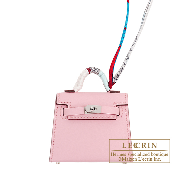 Hermes Kelly Twilly Rose sakura Tadelakt leather/ Silk Silver hardware