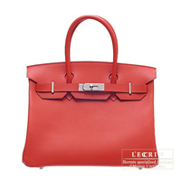 Hermes Birkin bag 30 Rouge garance Epsom leather Silver hardware