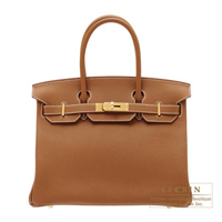 Hermes Birkin bag 30 Gold Clemence leather Gold hardware