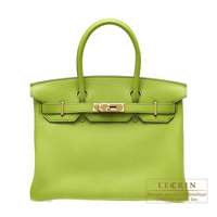 Hermes Birkin bag 30 Anis green Togo leather Gold hardware