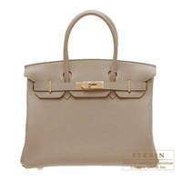 Hermes Birkin bag 30 Gris tourterelle Togo leather Gold hardware