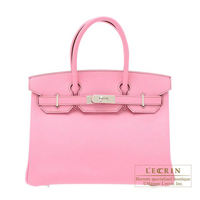 Hermes Birkin bag 30 Pink Epsom leather Silver hardware