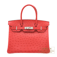 Hermes Birkin bag 30 Bougainvillier Ostrich leather Silver hardware