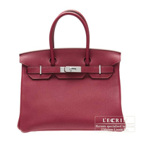 Hermes Birkin bag 30 Ruby Togo leather Silver hardware