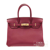 Hermes Birkin bag 30 Ruby Togo leather Gold hardware