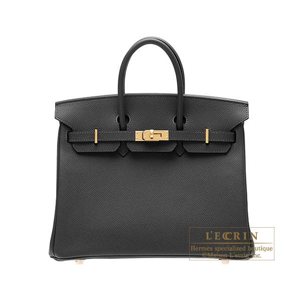 Hermes Birkin bag 25 Black Epsom leather Gold hardware