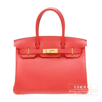 Hermes Birkin bag 30 Bougainvillier Clemence leather Gold hardware