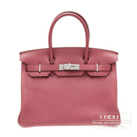Hermes Birkin bag 30 Bois de rose Clemence leather Silver hardware