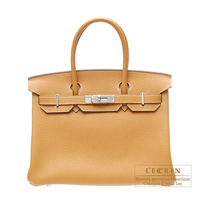 Hermes Birkin bag 30 Natural sable Fjord leather Silver hardware