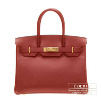 Hermes Birkin bag 30 Rouge garance Vache trekking leather Gold hardware
