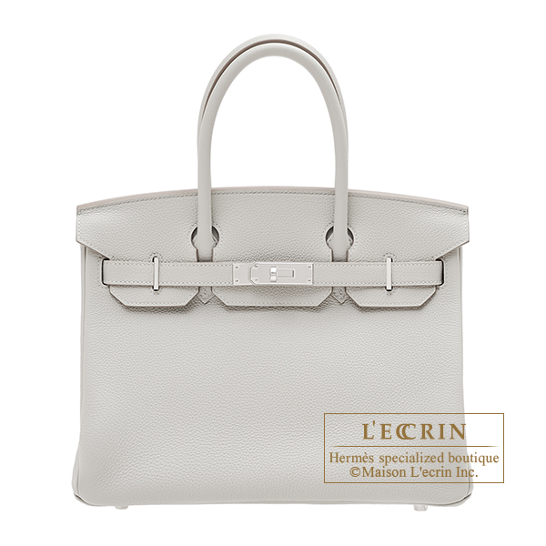 Hermes Birkin bag 30 Pearl grey Togo leather Silver hardware