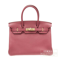 Hermes Birkin bag 30 Bois de rose Clemence leather Gold hardware