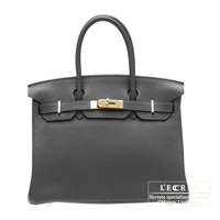 Hermes Birkin bag 30 Graphite Clemence leather Gold hardware