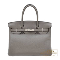 Hermes Birkin bag 30 Etain Clemence leather Silver hardware