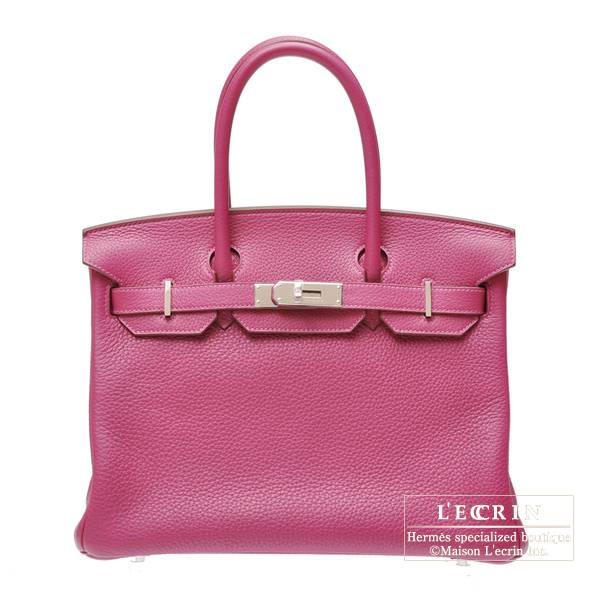 Hermes Birkin bag 30 Tosca Clemence leather Silver hardware