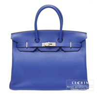 Hermes Birkin bag 35 Blue electric Clemence leather Silver hardware