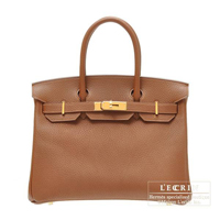Hermes Birkin bag 30 Marron d'Inde Fjord leather Gold hardware