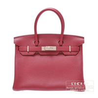 Hermes Birkin bag 30 Ruby Clemence leather Silver hardware