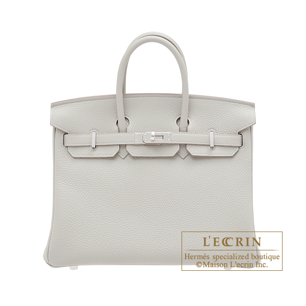 Hermes Birkin bag 25 Pearl grey Togo leather Silver hardware